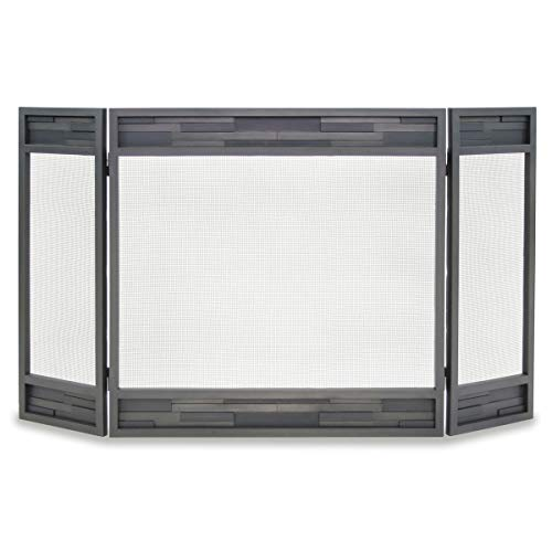 """Pilgrim, Natural Iron Home and Hearth 18236 Lanier Tri Panel Fireplace Screen, 48"""" W x 31""""H, 29 Lbs"""