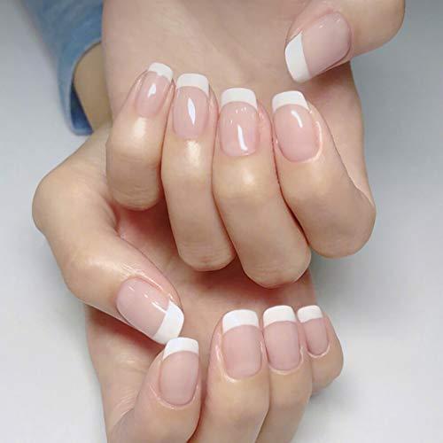 Jovono Faux ongles naturels style French manucure, (rose moyen)