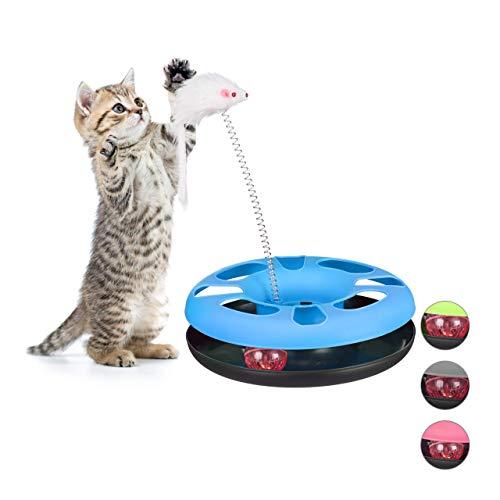Relaxdays Katzenspielzeug Maus, Kugelbahn, Ball mit Glöckchen, Cat Toy, interaktiv, Training & Beschäftigung, hellblau