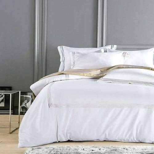 LEV Bedding Sets - Silky Egyptian Cotton Hotel White Bedding Set Chinese Embroidery Duvet Cover Set Queen King Size Bed Sheet Bed Cover Set Pillow - by 1 PCS