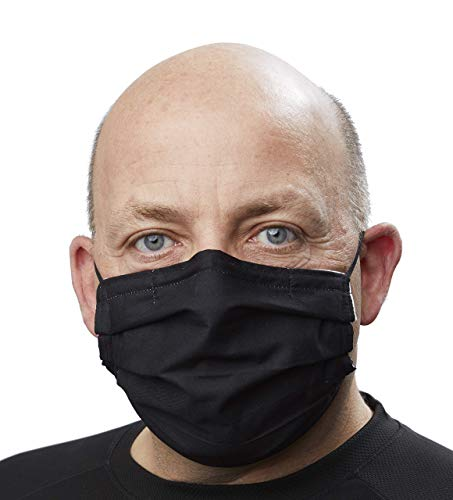 Quality reusable large men Face Mask with nose wire, adjustable elastic & built-in filter. Canadian Made Comfortable Highly Breathable Cotton Mask & Bamboo Washable Hypoallergenic