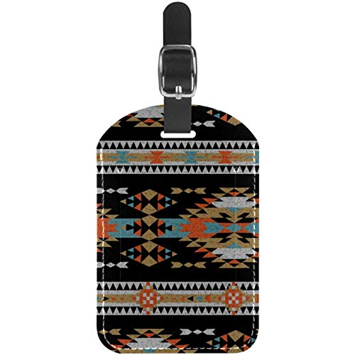 Luggage Tags American Indian Aztec Tribal Ornament Leather Travel Suitcase Labels 1 Packs