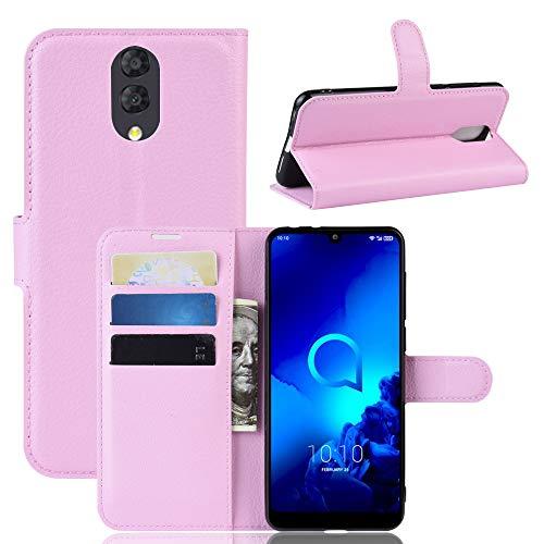 SPAK Alcatel 3L 2019 Hülle,Premium Leder Geldbörse Flip Schutzhülle Cover für Alcatel 3L 2019 (Pink)