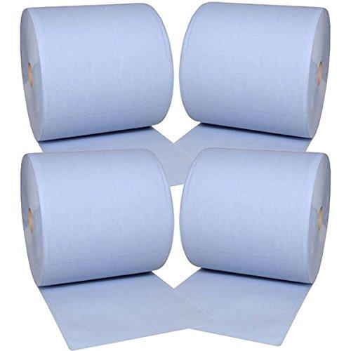 4x Putztuchrolle Papier Putztuch Papiertuch Rolle blau 2 lagig 37x38 cm