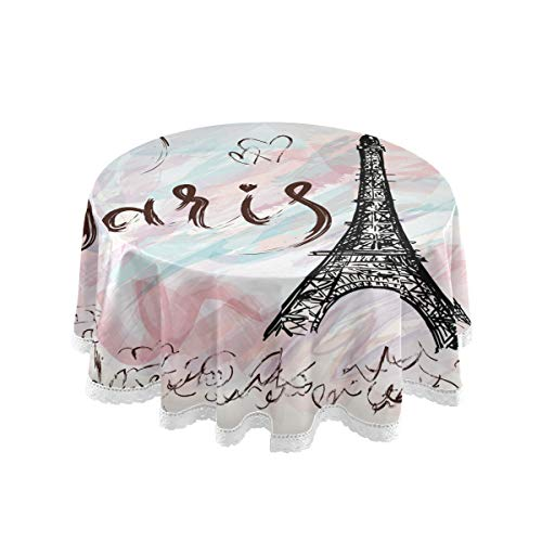 Wamika Eiffel Tower Round Tablecloth Romantic Paris Pink Watercolor Table Cloth Cover Mat Lace Washable Polyester 60' Dining Decorative for Holiday Home Party Wedding Picnic