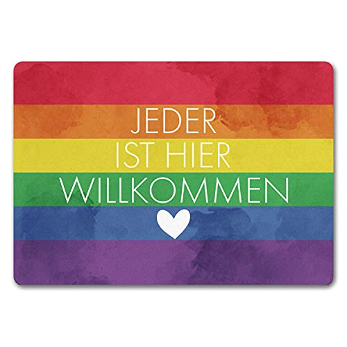 speecheese Jeder ist Hier willkommen Fußmatte in 35x50 cm ohne Rand mit Regenbogenfahne Pride Lesben Transgender Fahne für Gleichberechtigung & Freiheit