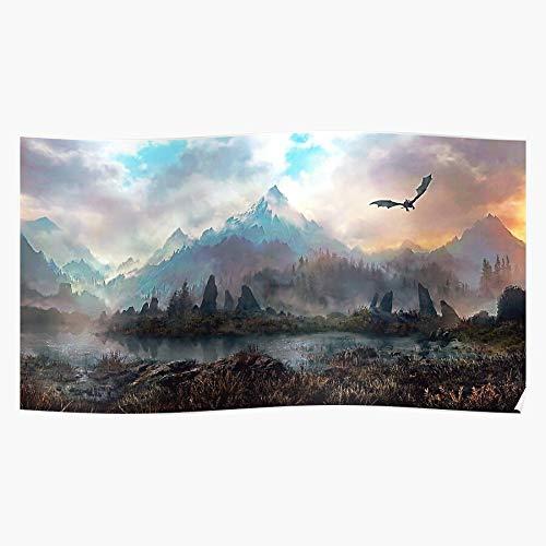 VIXpaulahermanny Mountain Dragon Fantasy Flying Scroll Skyrim Elder Eso Geschenk für Wohnkultur Wandkunst drucken Poster 11.7 x 16.5 inch
