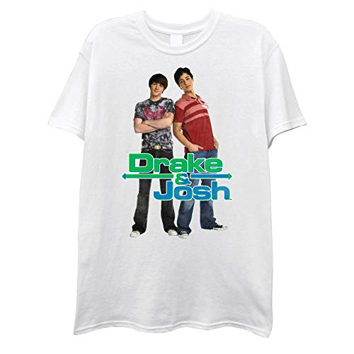 Nickelodeon Mens Drake and Josh Shirt Drake and Josh Vintage T-Shirt (White Drake, Small)