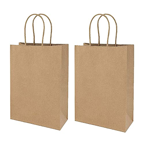 OUQIWEN 24 bolsas de papel marrón con asa, bolsas de papel de estraza, bolsas de regalo reciclables (21 x 11 x 27 cm)