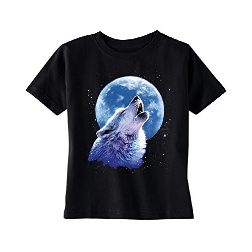 Call of The Wild Howling The Full Moon Toddler T-Shirt Alpha Wolf Kids Black 5T