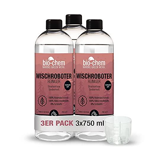 Bio-Chem Wischroboter-Reinigungsmittel Bodenreiniger – Extrem ergiebiges Konzentrat für Wischroboter und Saugroboter Aller Marken - Streifenfrei & ökologisch - 3X 750 ml inkl. Dosierhilfe