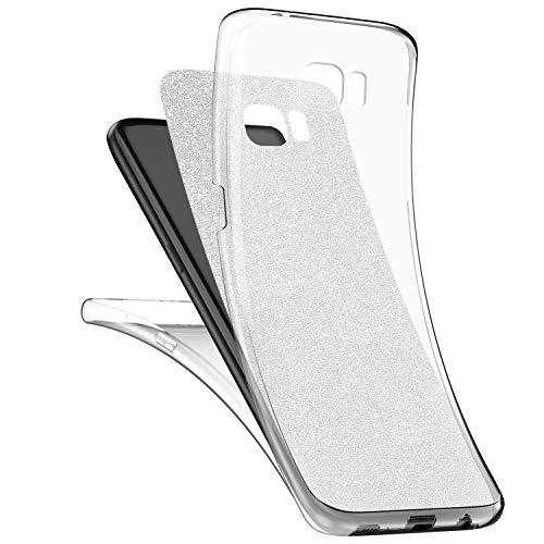 Qjuegad Kompatibel mit Samsung S7 Edge Klare Hülle, Ganzkörper-Vorder-und Rückseite Vollständiger Schutz Matte Glitzer Gel-Handytasche, Stoß-und wasserdichte Hülle und Displayschutzfolie, Silber