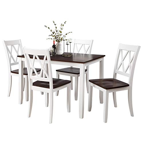 Rhomtree Dining Room Table and Chairs 5Pieces Wood Kitchen Dining Set Dinette Set for 4 Person (White)