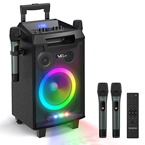 VeGue Wireless Karaoke Machine, Portable PA System Bluetooth Speaker with 8'' Subwoofer, Wireless Singing Microphone for Home Karaoke, Party, Meeting, Outdoor/Indoor Activities(VS-0866)