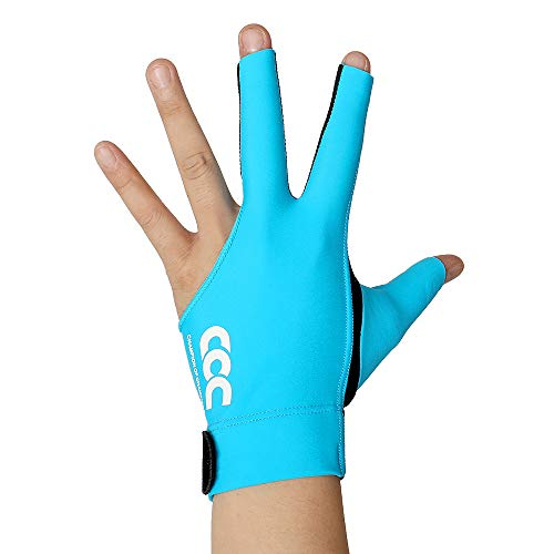 PiKu Pool Billiard Carom Snooker Cue Game Gloves for Man Woman Elastic Lycra 3 Fingers Show Gloves for Playerss - Wear on The Left Hand 1PC (Blue, Medium)