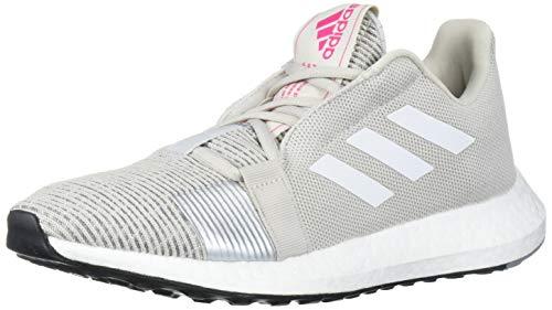 adidas Women's SenseBOOST GO w Running Shoe, Grey one/FTWR White/Shock Pink, 9.5 Standard US Width US