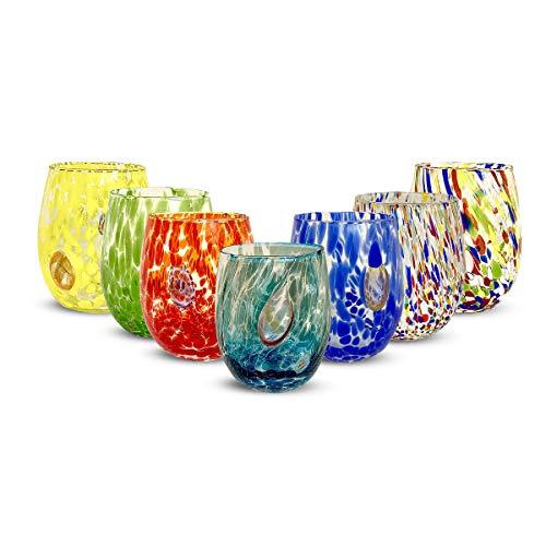 Gocce di Murano set 6 bicchieri Arcobaleno Pioggia in vetro di Murano soffiato 240ml lavorazione a mano colorati confezione 6 calici per acqua eleganti e preziosi (Personalizzato, 6)