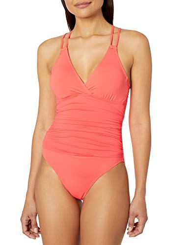 La Blanca Women's Island Goddess Underwire Double Strappy Back One Piece Swimsuit, Bird of Paradise, 10
