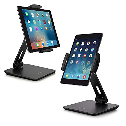 "AboveTEK Business Kiosk Aluminum Tablet Stand, 360° Swivel Tablet & Phone Holders for Any 4-14"" Display Tablets or Cell Phones, Professional & Sturdy for Store POS Office Showroom (Grey)"