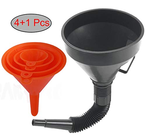 KAKO Multi-fFunctional Plastic Funnel Oil Funnel and 4-Piece All Purpose Wide-Mouth Bright Orange Plastic Funnel Set for Cars and Motorcycles, Engine Oil, Liquid, Diesel, Kerosene and Gasoline (5pcs)