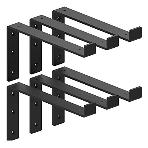 "Shelf Brackets12 Inch Lip Brackets for Shelves, Industrial Forged Steel Floating Shelf Bracket, Handcrafted Forged Heavy Duty Rustic Black Shelf Brackets, Raw Metal/Steel Floating Shelf 6 Pack(11.25"")"