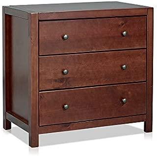 MUSEHOMEINC Wood with 3-Drawer Dresser,Storage Night Stand,Round Metal knobs,Espresso Finish