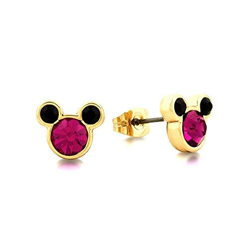 Disney Couture Minnie Mickey Mouse oro & rosa cristallo orecchini