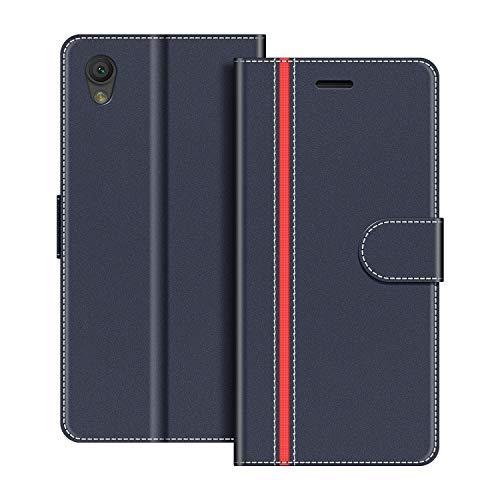 COODIO Handyhülle für Sony Xperia L1 Handy Hülle, Sony Xperia L1 Hülle Leder Handytasche für Sony Xperia L1 Klapphülle Tasche, Dunkel Blau/Rot