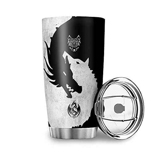 Tobgreatey Vaso de acero inoxidable aislado al vacío, 600 ml, con tapa abatible, diseño de dragón vikingo, color blanco