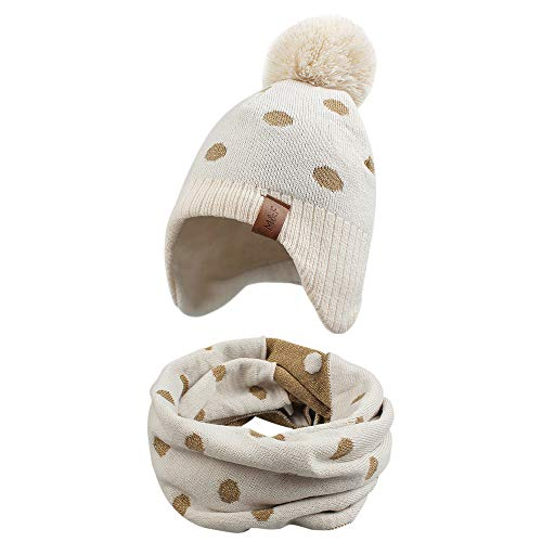 Knitted Baby Hat Scarf Set Winter Warm Boys Girls Beanie Fleece Lining Toddler Kids Hat with Pompom (Beige Dots, S)