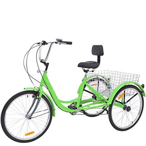 3 ruedas bicicleta de ciudad con cesta ruedas dentadas 6 velocidades Triciclo para adultos de 24 pulgadas Wangkangyi