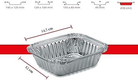 ciotola usa e getta 470 ml ciotola raccogli-grasso 14 x 12 cm ciotola antigoccia disponibile in 100 pezzi Ciotola in alluminio rettangolare con coperchio senza coperchio in alluminio