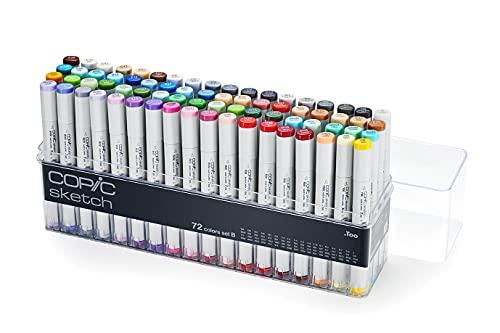 COPIC Sketch Marker Set B mit 72 Farben, professionelle Pinselmarker, alkoholbasiert, im praktischen Acryl-Display zur Aufbewahrung und einfachen Entnahme