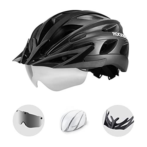 ROCKBROS Fahrradhelm Helmet Radhelm Integriert mit Abnehmbarer Magnet Brille mit Helmüberzug Kopfumfang von 57-62CM für MTB Rennrad Ebike