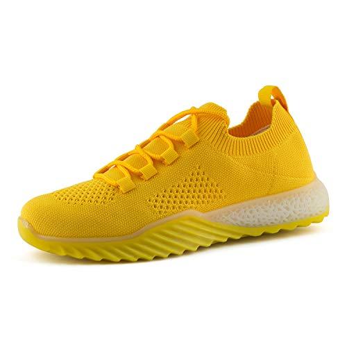 Fusskleidung Damen Sneaker Sportschuhe Laufschuhe Slip-On Slipper Gym Gelb EU 38