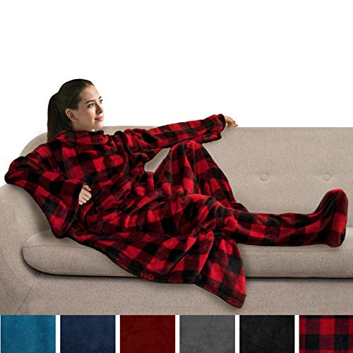 PAVILIA Fleece Blanket with Sleeves and Foot Pockets for Adult Women Men | Wearable Fleece Throw Wrap Warm Cozy Extra Soft for Sofa Couch Lounging Gaming Checkered Red
