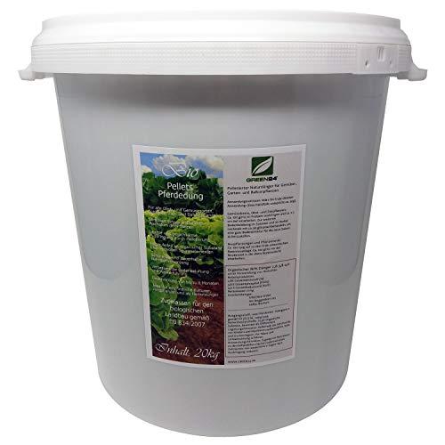 GREEN24 Premium Naturdünger Pellets 20 kg im Wieder verschließbaren Eimer für Gemüse, Garten- und Balkonpflanzen, Bio Pferdedung