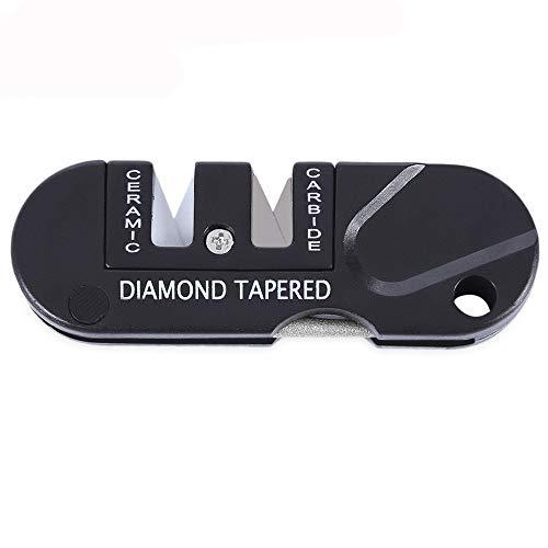 jieGorge Outdoor Pocket Folding Knifes Sharpener Ceramic Carbide Diamond Tapered Tools, Kitchen,Dining & Bar for Easter Day (Black)