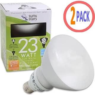 Fluorescent Flood Light Bulb 23 Watt SSL22 CFL R40 R-40 R 40 Warm White 2700K 23W 2-Pack