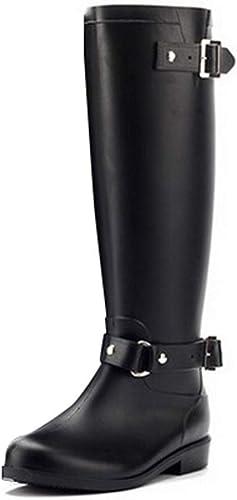 ZHRUI Stiefel Altas con Cremallera Estilo Punk para damen Stiefel de Lluvia de Farbe Puro schuhe de Agua de Goma para Exterior (Farbe   schwarz, tamaño   5 UK)