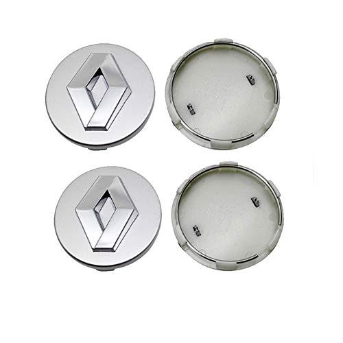 WHALLO Tapas centrales de Rueda de Coche de 60MM, Cubierta de Cubo de neumáticos de Estilo para Renault Emblem Clio 4 Megane 2 3 Laguna Duster Captur Fluence Kadjar Espace