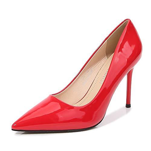 CYwinterB High Heels Leder Plateau Pump sexy sexy Spitzen Zehen Stiletto Damen Einzelschuhe Elegante Büro Damenschuhe rot schwarz weiß High Heels- red||46