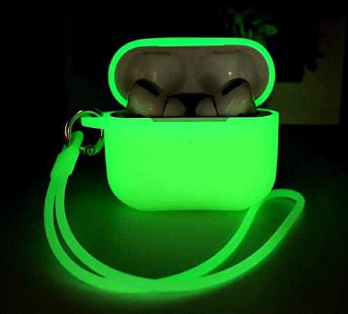 Funda AirPods Pro Compatible con AirPods Pro, KOKOKA Fundas Protectora de Silicona para AirPods Pro [LED Frontal Visible][Funciona con Carga inalámbrica] con Correa Anti Pérdida-Nightglow Green