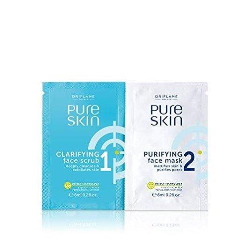Oriflame Pure Skin 1 Clarifying Scrub 2 Purifying Mask, 12 Milliliters