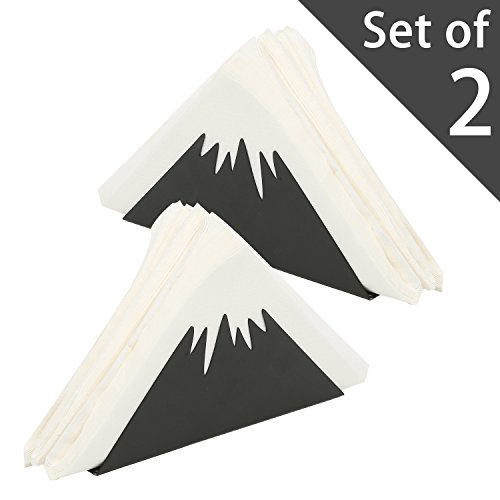 Black Metal Decorative Snow Capped Mountain Design Triangle Napkin Holder, Tissue Organizer, Set of 2
