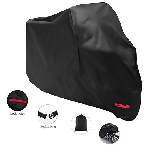 MoKo Motorcycle Cover 210D Oxford Cloth XXXL Dustproof Splashproof 116 inch Universal Protective Cover All Season Sun Protection Case Super Large for Motorbike Outdoor Use  Black