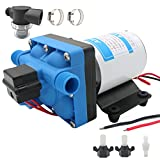 12v RV Boat Inline Water Pump, Portable Water Pressure Booster Pump for Boat and RV, High Pressure Boat and RV Shower Water Pump