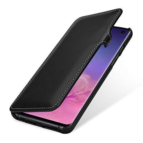Preisvergleich Produktbild StilGut Leder-Hülle kompatibel mit Galaxy S10,  seitlich klappbares Book Type Case,  schwarz Nappa mit Clip