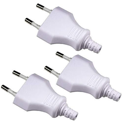 Europa-Stecker Kunststoff weiß, max. 250V/2,5A - 3er Pack