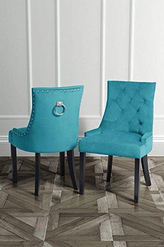 My-Furniture - 1 x Chaise de Salle à Manger avec Anneau au Dos – Sarcelle, piétement Finition Noire – Torino